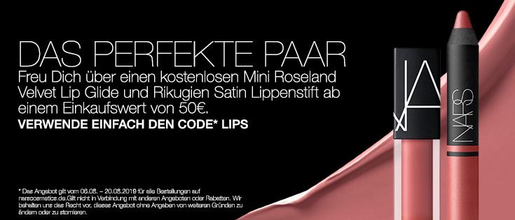 DAS PERFEKTE PAAR - Freu dich über einen kostenlosen Mini Roseland Velvet Lip Glide and Rikugien Satin Lippenstift ab einem Einkaufswert von 50€. VERWENDE DEN CODE* LIPS